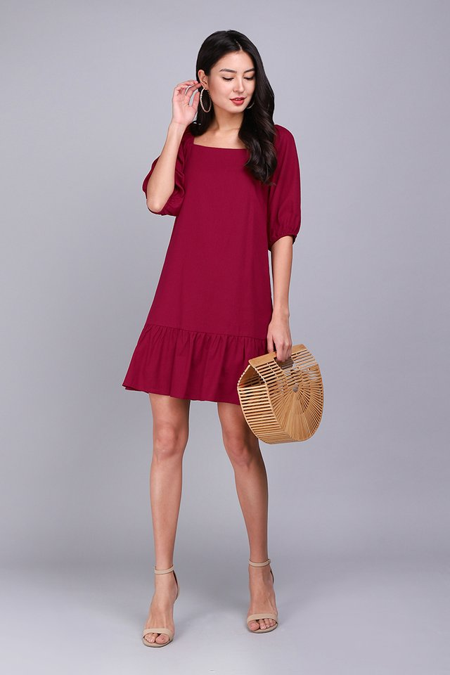 Fortune Favours The Bold Dress In Wine Red
