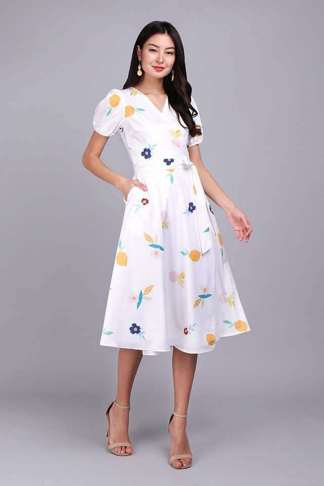 Fruit For Thought Dress In White Prints