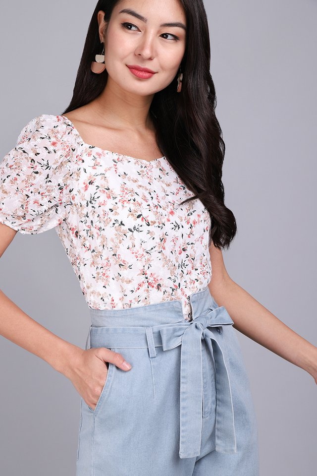 [BO] Most Hearted Top In White Florals