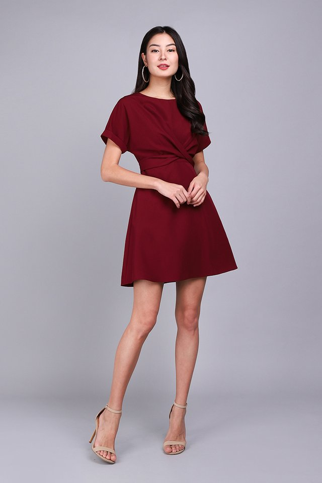 Twist Of Charm Dress In Wine Red